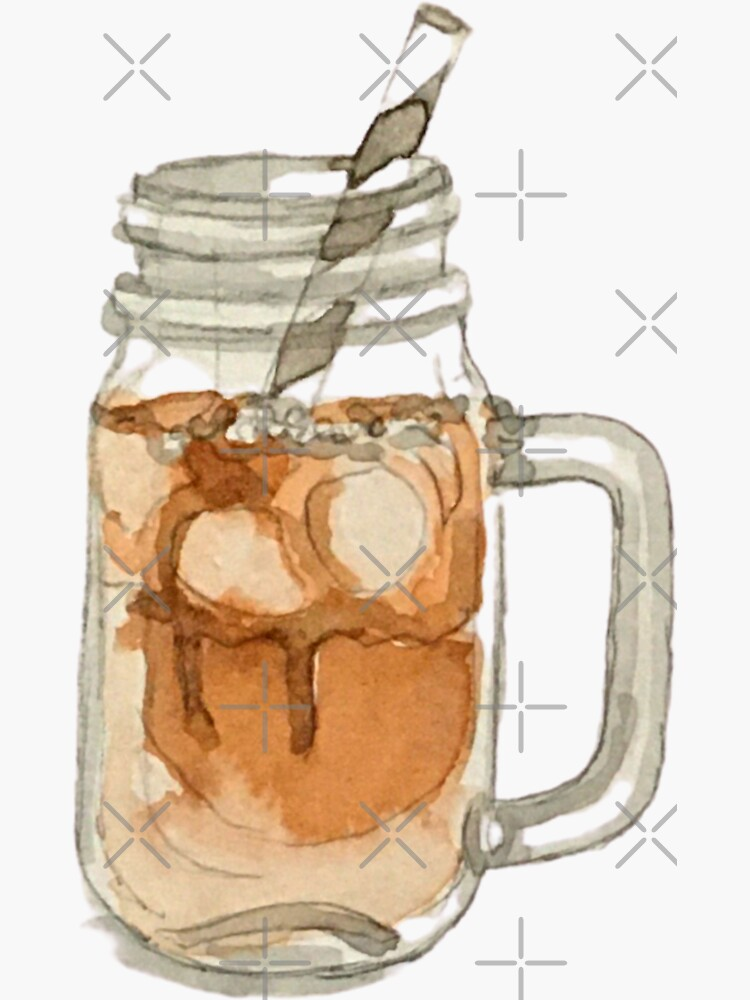 Iced Caramel Latte in a Glass Mason Jar with Straw - Coffee Sticker by WitchofWhimsy