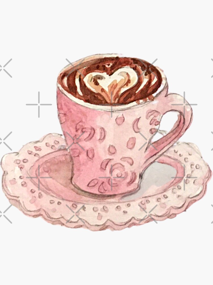 Coffee Art Heart in Fancy Pink Mug with Roses - Watercolor Coffee Sticker by WitchofWhimsy