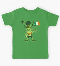 Proud Leprechaun Waving an Irish Flag Kids Tee