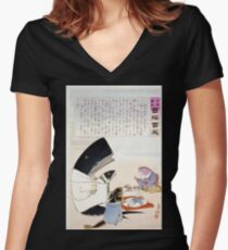 A whale and three fish sitting down to a formal dinner of Russian sailors 001 Women's Fitted V-Neck T-Shirt