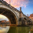 Ponte Sant' Angelo Sunset by Yhun Suarez