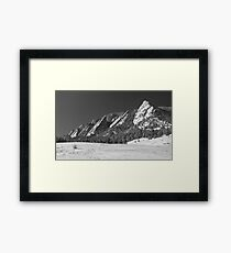 Snow Dusted Flatirons Boulder CO Panorama BW  Framed Print