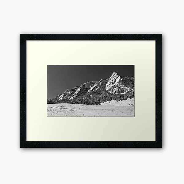 Snow Dusted Flatirons Boulder CO Panorama BW  Framed Art Print