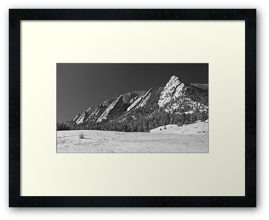 Snow Dusted Flatirons Boulder CO Panorama BW  by Bo Insogna