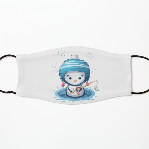 Cute winter penguin wearing funny hat fishing Kids Mask