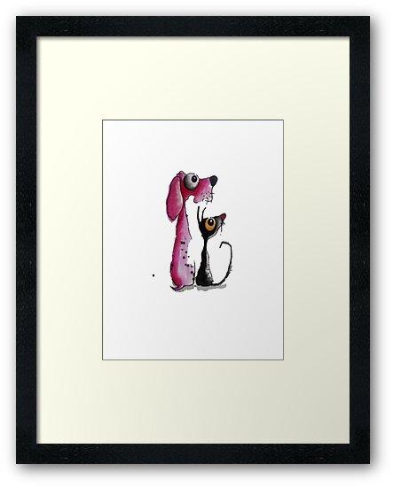 Stressie Cat & the Pink Dog by StressieCat