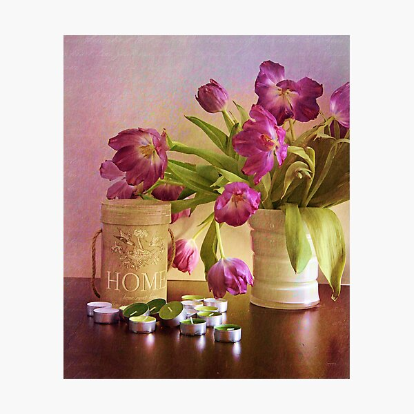 Tulips and candles Photographic Print