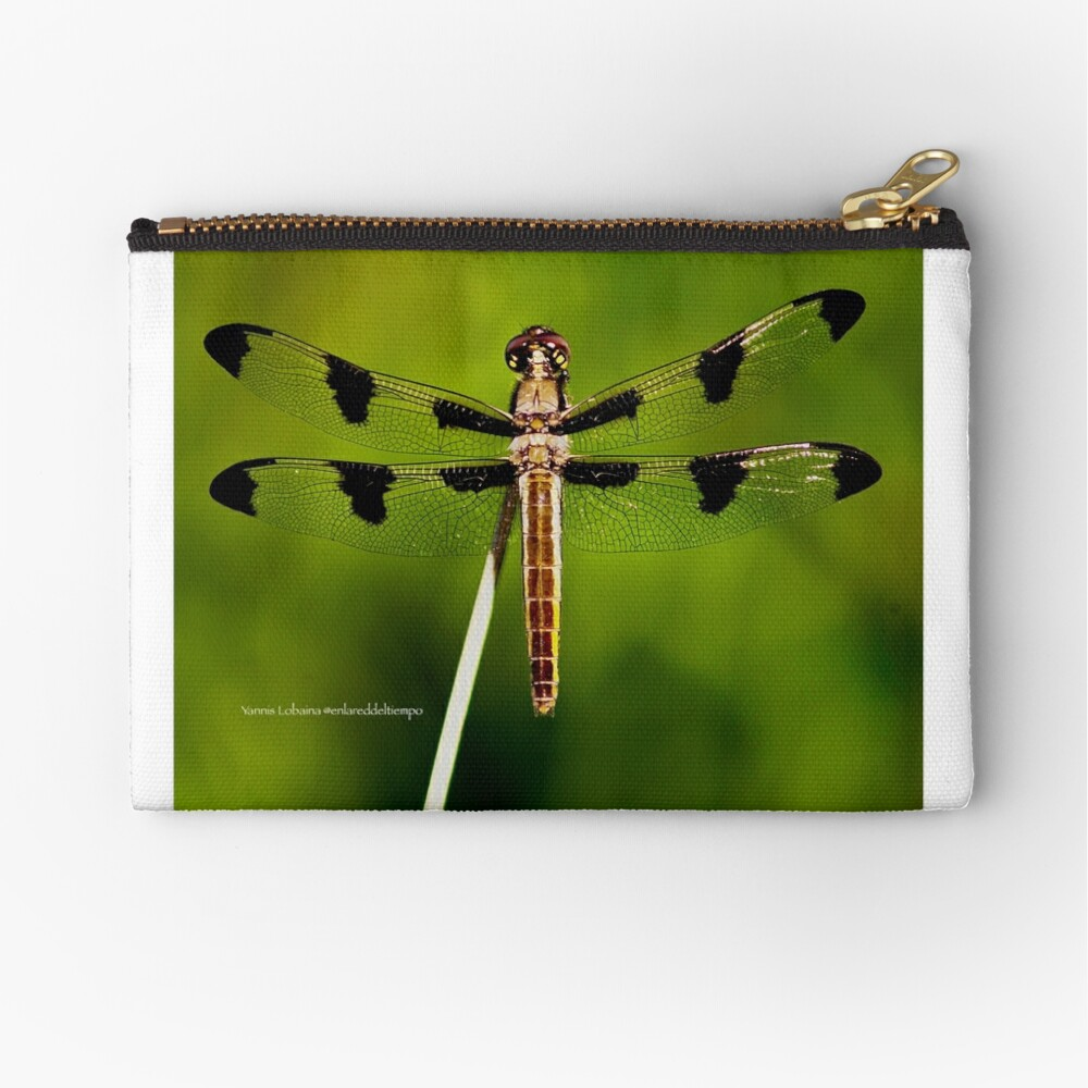 Dragonfly of the enchanted forest by Yannis Lobaina  Zipper Pouch