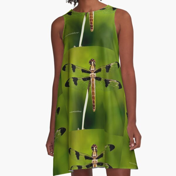 Dragonfly of the enchanted forest by Yannis Lobaina  A-Line Dress