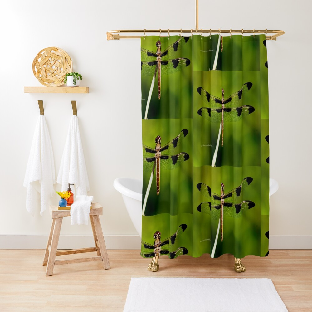 Dragonfly of the enchanted forest by Yannis Lobaina  Shower Curtain