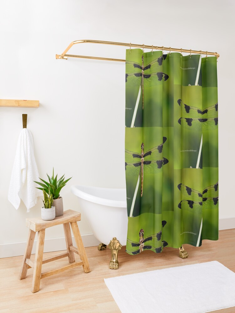 Alternate view of Dragonfly of the enchanted forest by Yannis Lobaina  Shower Curtain