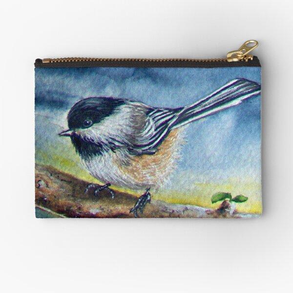 Chickadee Bird Painting Watercolour Zipper Pouch