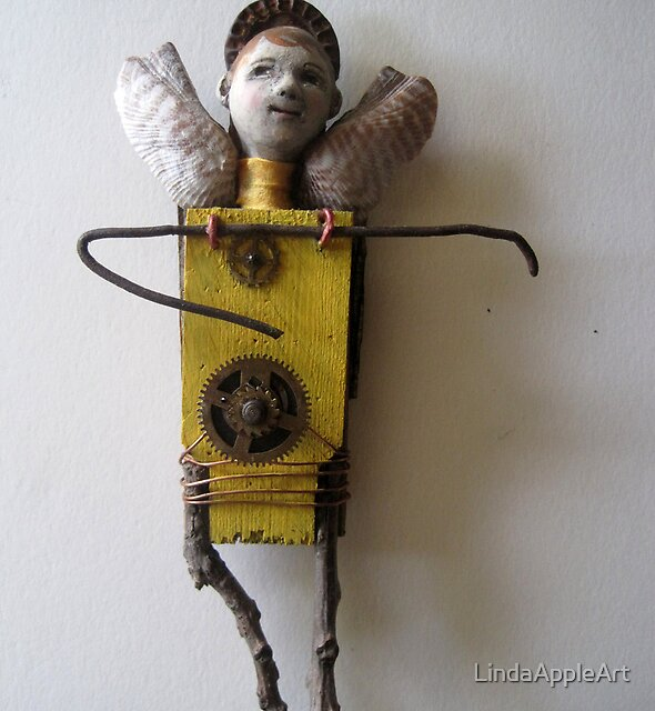 Sun Angel - assemblage altered art doll by LindaAppleArt