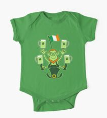 Leprechaun Juggling Beers and Irish Flag One Piece - Short Sleeve