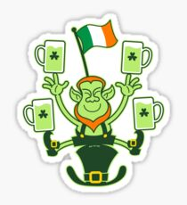 Leprechaun Juggling Beers and Irish Flag Sticker