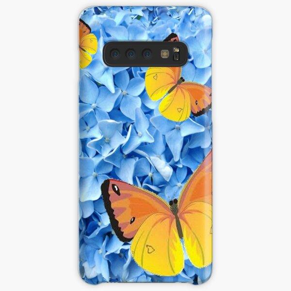 YELLOW BUTTERFLIES ON BLUE HYDRANGEAS GARDEN Samsung Galaxy Snap Case