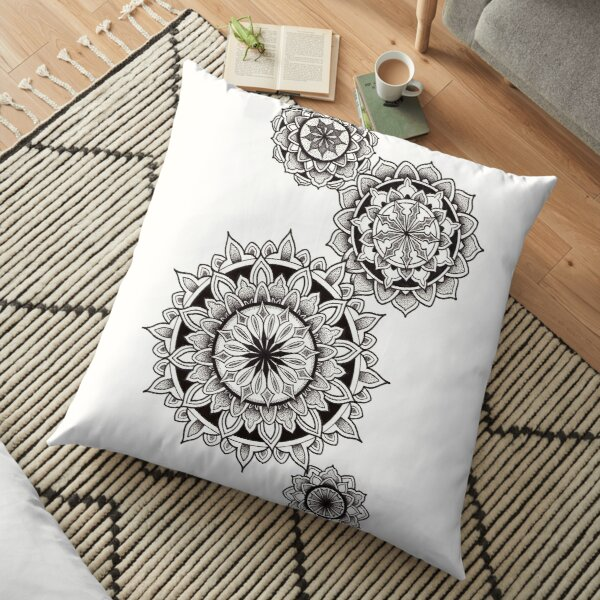 4 mandalas with geometry shapes in pen and ink dotwork Floor Pillow