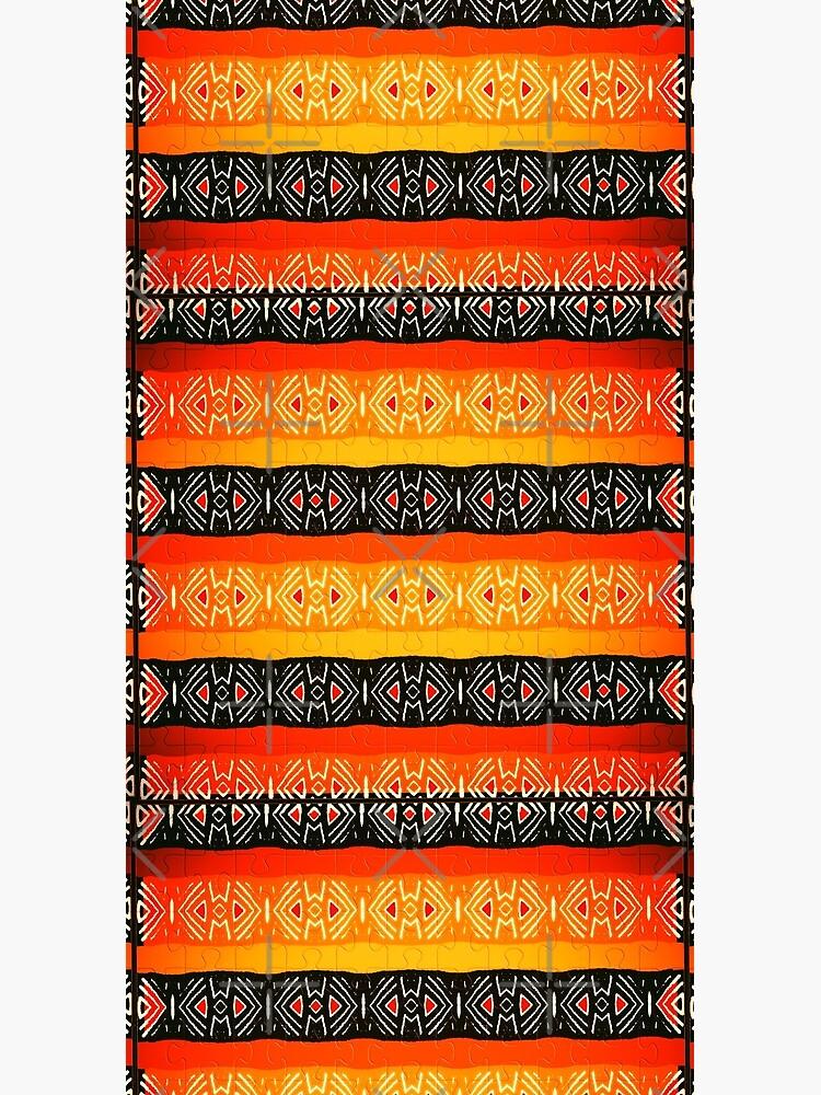 African Geometric Jigsaw Pattern  by MinRoGallery12