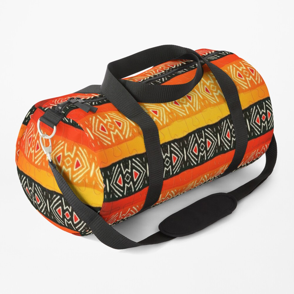 African Geometric Jigsaw Pattern  Duffle Bag