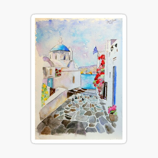 Greece Watercolor Sticker