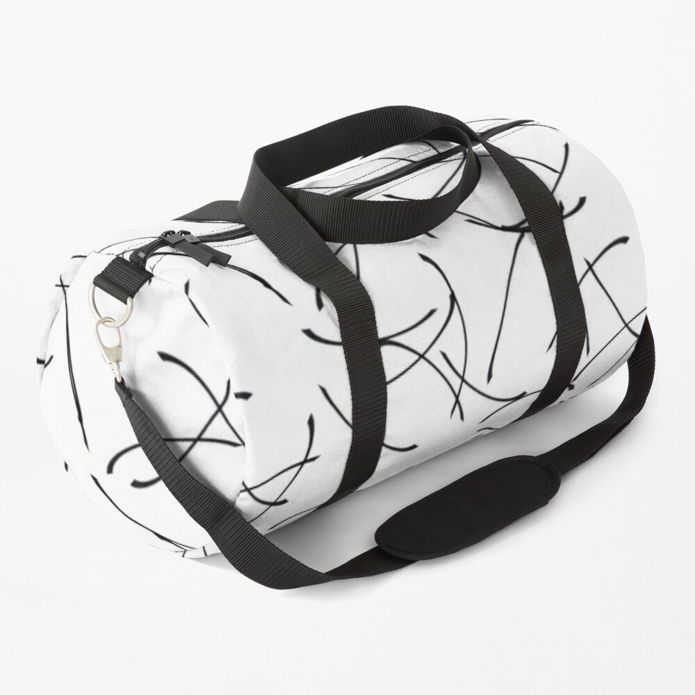 Minimalist Black and White Abstract Pattern Duffle Bag