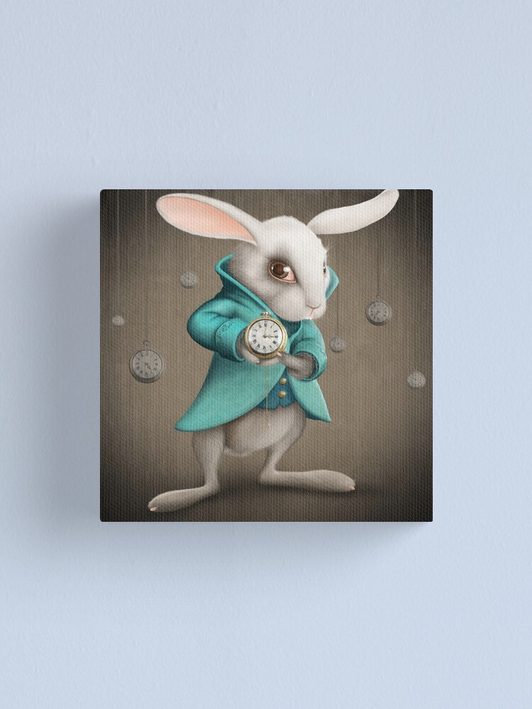 Alternate view of white rabbit with clock Canvas Print