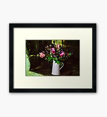 Flowers On The Hearth Framed Print