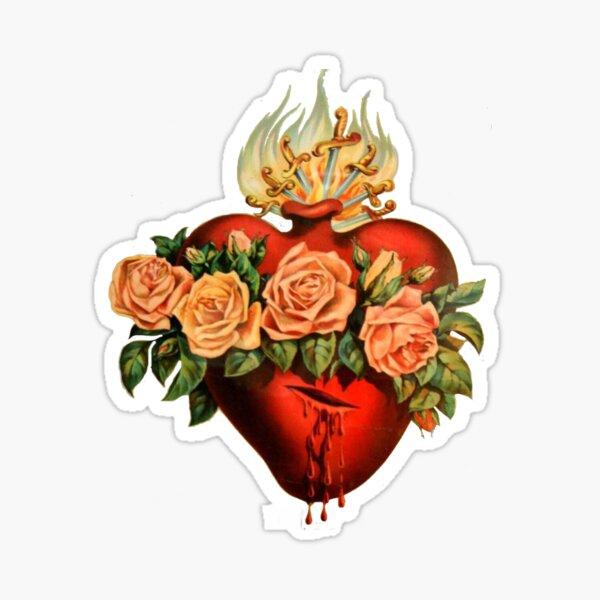 Catholic Immaculate Heart of Mary - White Sticker