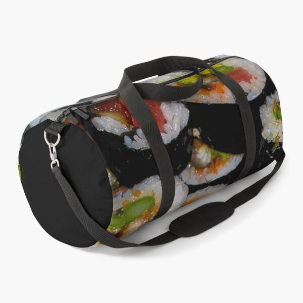 Sushi Rolling 101 Making Sushi At Home Spicy Tuna and California Rolls with Soft Shelled Crab For Sushi Lovers and Sushi Chefs Duffle Bag