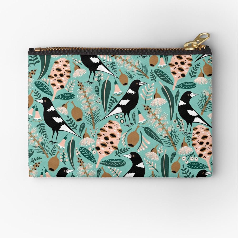 Australian bush magpies Zipper Pouch