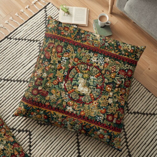 Medieval Unicorn Floral Tapestry Floor Pillow