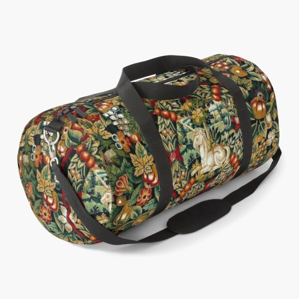 Medieval Unicorn Floral Tapestry Duffle Bag