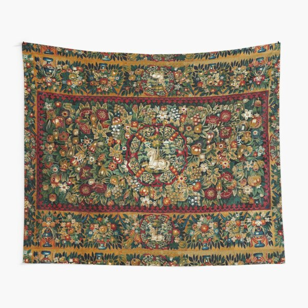 Medieval Unicorn Floral Tapestry Tapestry