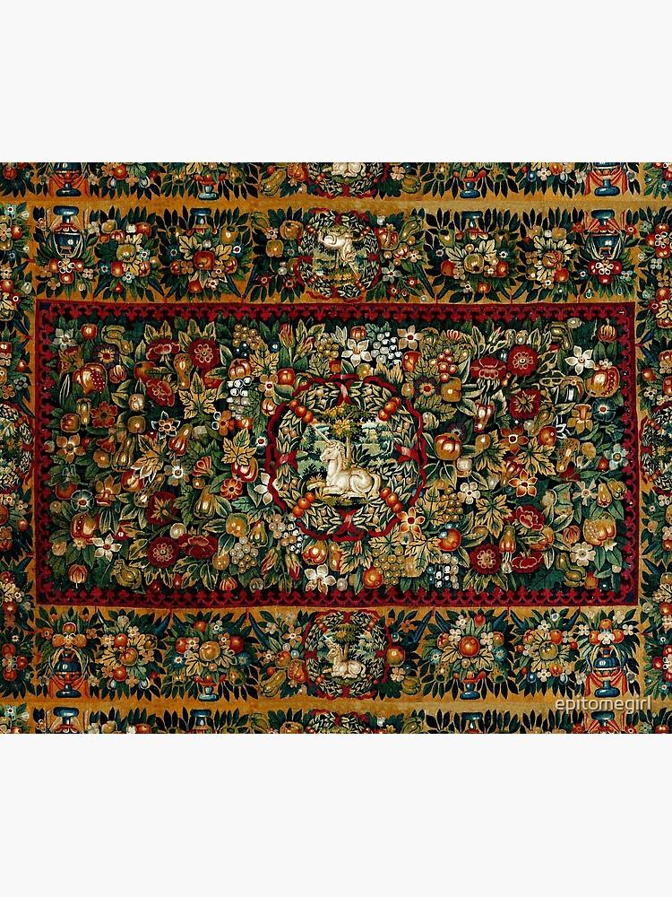 Medieval Unicorn Floral Tapestry by epitomegirl