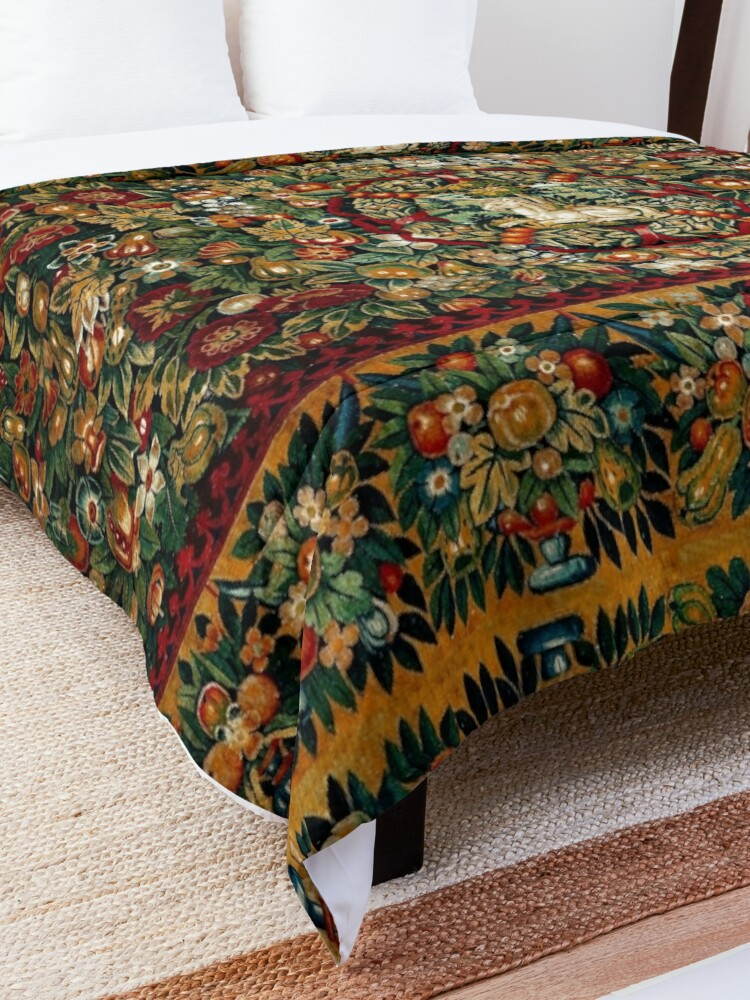 Alternate view of Medieval Unicorn Floral Tapestry Comforter