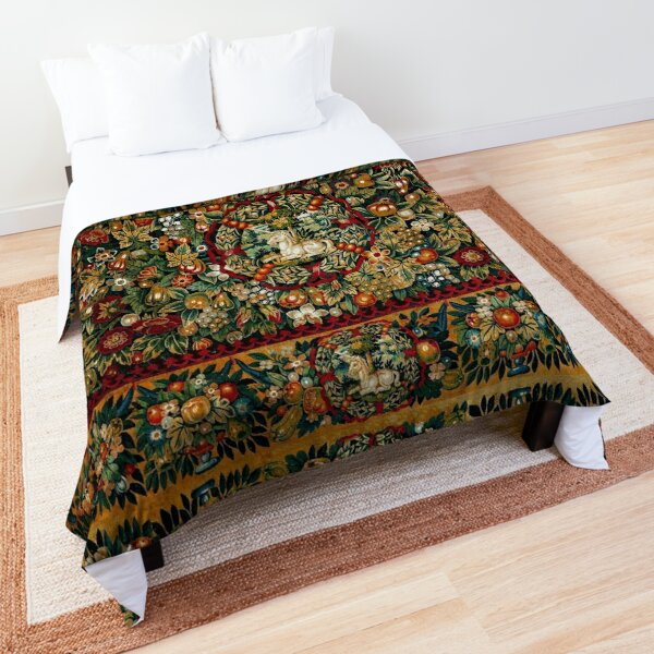 Medieval Unicorn Floral Tapestry Comforter