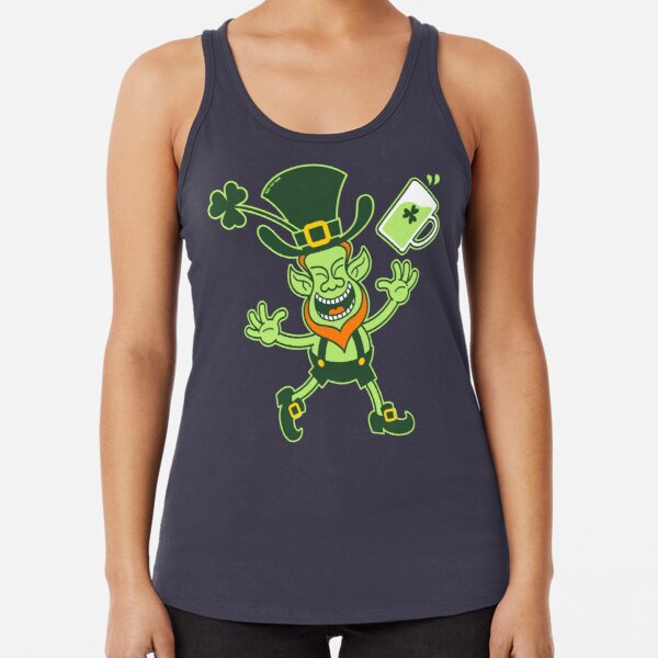 Euphoric Leprechaun Celebrating St Patrick's Day Racerback Tank Top
