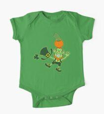 Green Leprechaun Balancing a Pot on his Head One Piece - Short Sleeve