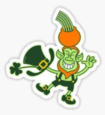 Green Leprechaun Balancing a Pot on his Head Sticker