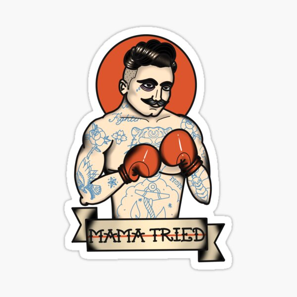"""Mama Tried"" Old School Boxer Traditional Tattoo Sticker   Red Black & Tan Sticker"