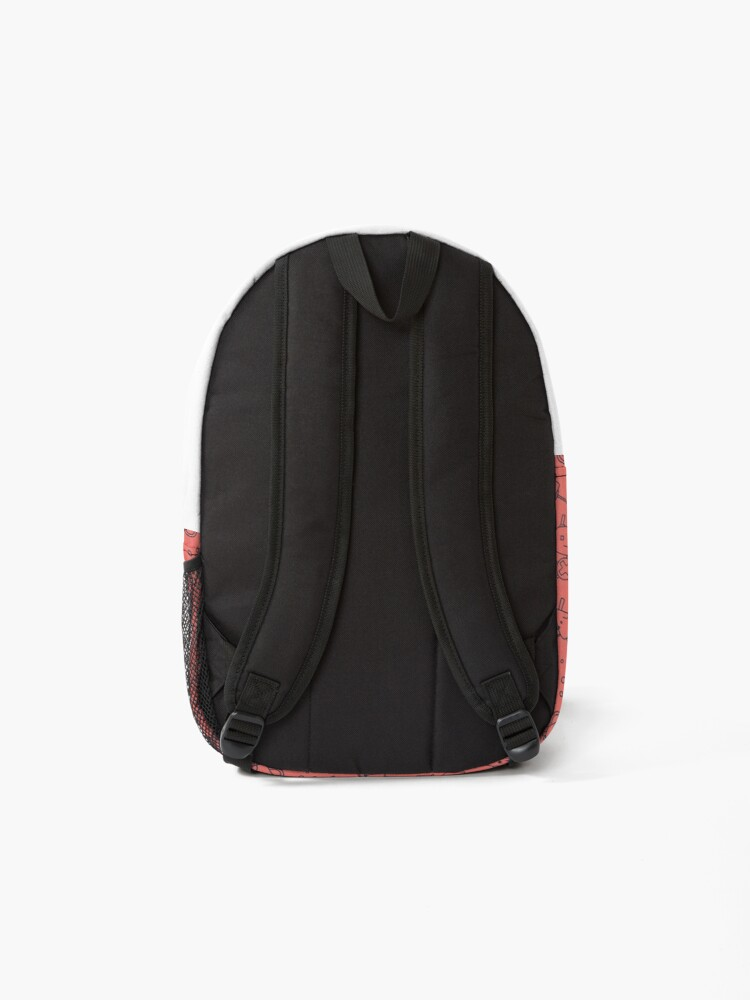 Alternate view of Cute Robots on Red Backpack