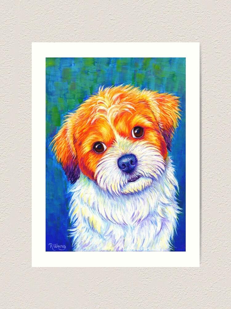 Alternate view of Curious Shih Tzu Colorful Cute Dog Art Print