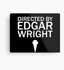 Directed by Edgar Wright (White) Metal Print