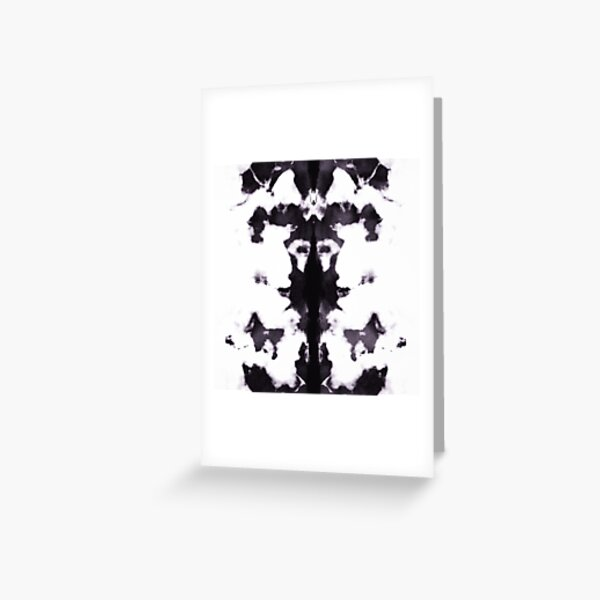 Black and White Rorschach Test Inkblot Pattern  Greeting Card