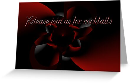 Cocktail Party Invitation - Red and Black Design by MotherNature