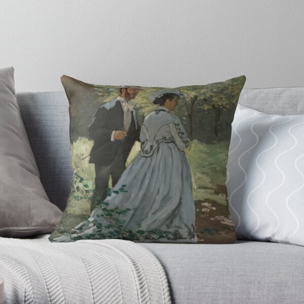 Bazille and Camille|Claude Monet Throw Pillow