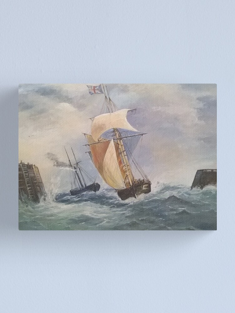 Alternate view of Seascape Print Of Original Oil Painting Of Naval Scene of Unknown Artist 1880s. Canvas Print