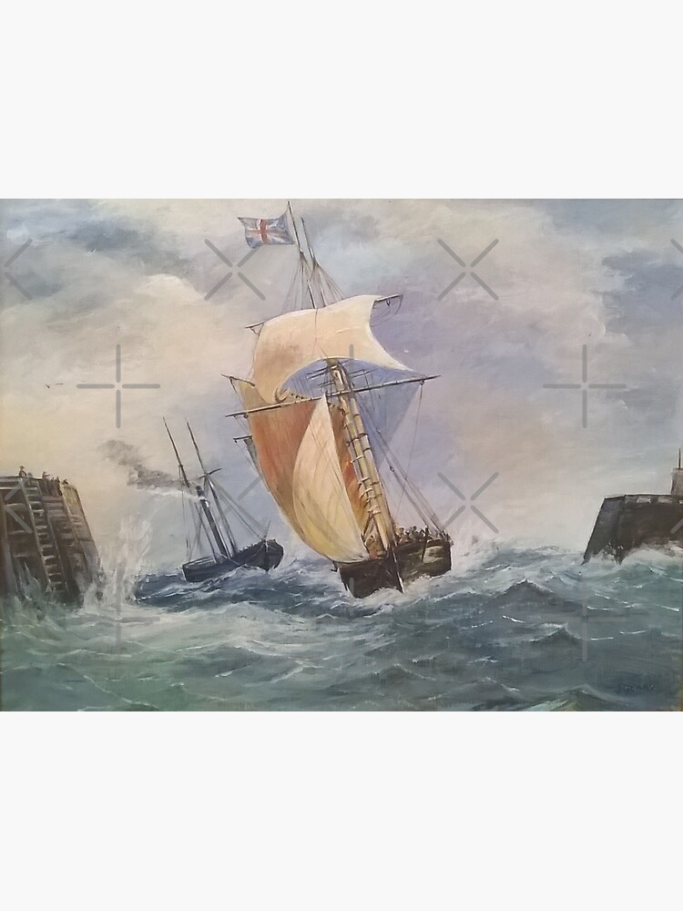Seascape Print Of Original Oil Painting Of Naval Scene of Unknown Artist 1880s. by carlarmes