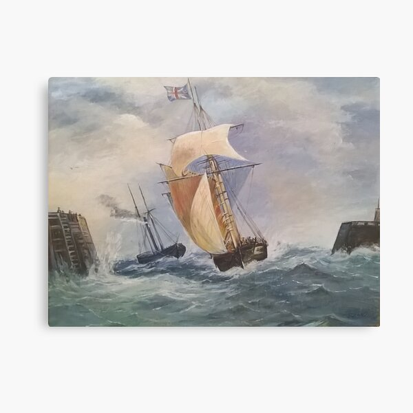 Seascape Print Of Original Oil Painting Of Naval Scene of Unknown Artist 1880s. Canvas Print