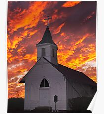 Church with Sky Aflame Poster